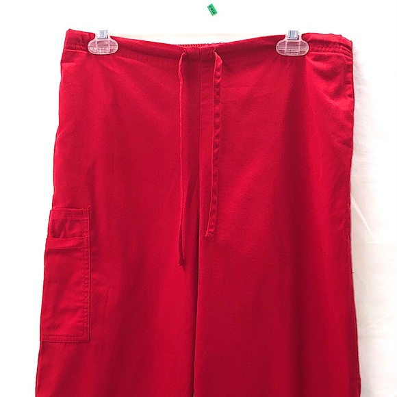 Red Scrub Pants Pockets Drawstring Uniform Medical